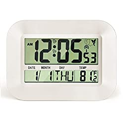 CIGERA 11 Atomic Digital Clock with Dual Alarms,Time Zones,DST Time,Calendar and Indoor Temperature,Can be Wall Clock or Desk Clock (White)