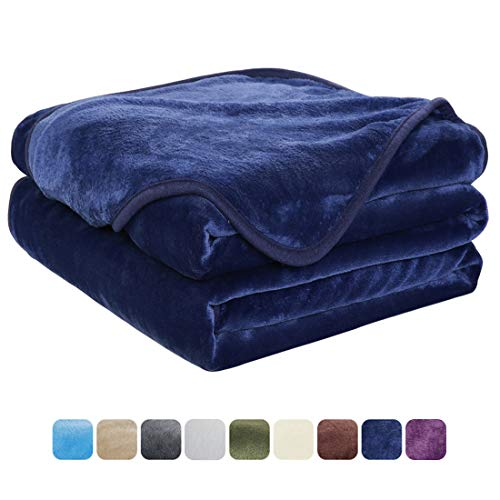 EASELAND Soft Travel Size Blanket All Season Warm Fuzzy Microplush Lightweight Thermal Fleece Blankets for Couch Bed Sofa,Throw,50x61 Inches,Dark Blue