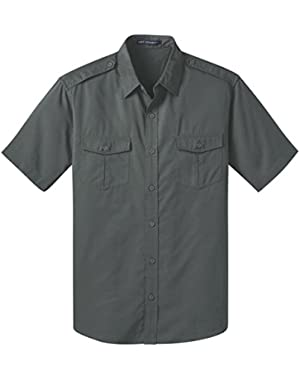 Stain-Resistant Short Sleeve Twill Shirt