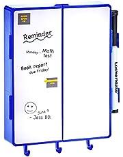 It's Academic LockerMate Magnetic Locker Vanity, Whiteboard and Mirror with Light, Blue 00433
