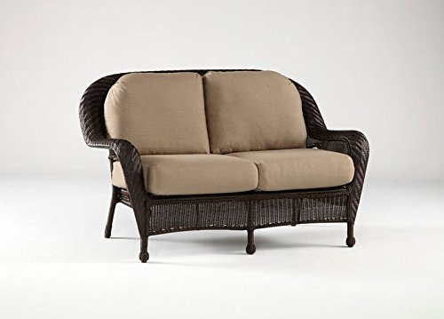 South Sea Rattan Key West Collection Loveseat with Cushions, Jockey Red