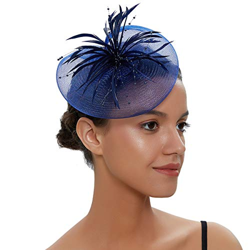 (Free Yoka Womens Fascinators Feather Pillbox Hat Cute Beads for Cocktail Kentucky Derby Ball Wedding Church Party (Navy Blue))