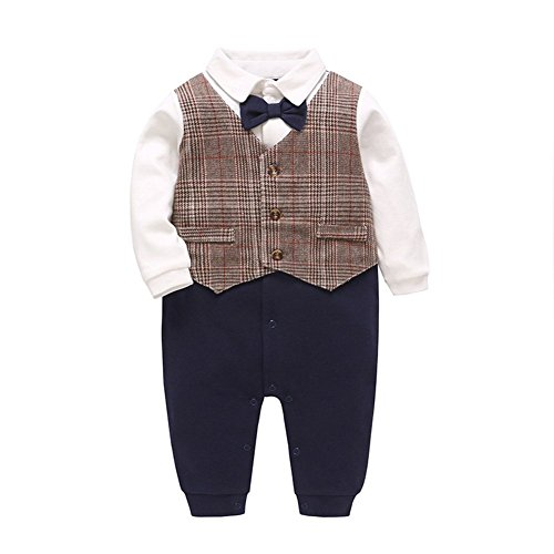Fairy Baby Baby Boy Gentleman Outfit Formal Onesie Tuxedo Dress Suit (0-3Months, -