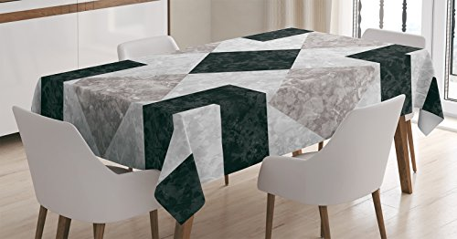 Ambesonne Apartment Decor Tablecloth, Nostalgic Marble Stone Mosaic Regular Design with Alluring Elements Image, Dining Room Kitchen Rectangular Table Cover, 52 W X 70 L inches, Beige Black