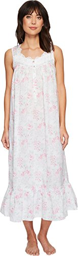 Eileen West Women's Cotton Lawn Ballet Nightgown White Ground/Watercolor Floral Medium