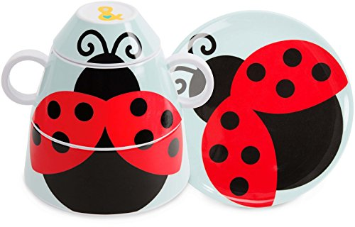 Price comparison product image Pavilion Gift Company Izzy and Owie Four Piece Stackable Dinner Set,  Lady Bug
