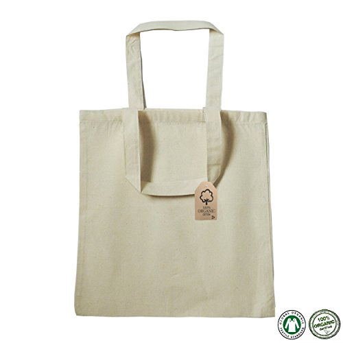 Organic Reusable Shopping Bag 100 percent Cotton Organic Shopper Tote Bag 2 Different Sizes Environment Friendly Organic Bags (Flat Bottom)
