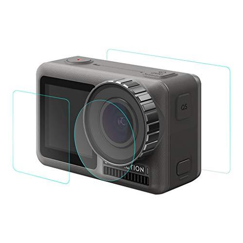 Hot Sale!UMFun 1Set Tempered Pet Film Dual Screen + Lens Protector For DJI OSMO Action Camera]()