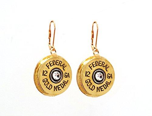 12 gauge Shotgun Shell Bullet Jewelry Pierced Leverback Earrings Gifts for Women