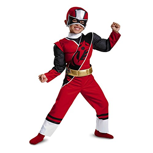 Power Rangers Ninja Steel Toddler Muscle Costume, Red, Large (Power Ranger Costumes For Sale)