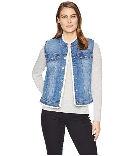 Tribal Women's Reversible Jean Vest Faux Fur Lining Classic Blue Medium