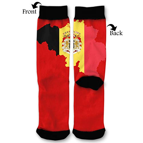 Belgium Map Flag Coat Arms PNG Icon Men & Women Casual Cool Cute Crazy Funny Athletic Sport Colorful Fancy Novelty Graphic Crew Tube Socks