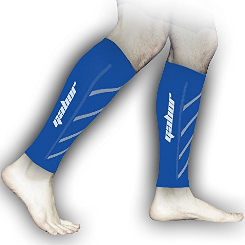 Gabor Fitness Graduated 20-25mm Hg Compression Running Leg Sleeves, Medium, Blue