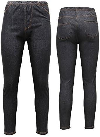 Womens Ladies Zip Denim Jeggings Leggings Skinny Slim Fit Jeans Size 8 10 12 14