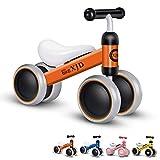 Baby Balance Bike Bicycle Children Toddler Rides on Toys Bike Baby Bike Trike 4 Wheels Kids Balance Bike Toddler Bike 10-24 Months for 1 Year Old No-Pedal Baby Bike First Birthday Gift (Orange)