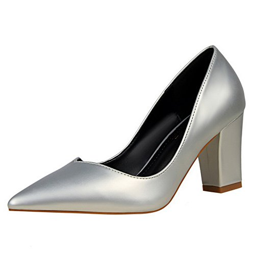 Pull Closed Women's Toe PU WeiPoot Silver Kitten On Solid Shoes Heels Pumps 0fppSwqI