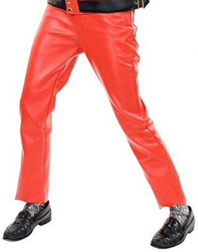 [Charades Costumes - Red Leather Pants Adult Costume] (Mj Thriller Halloween Costume)