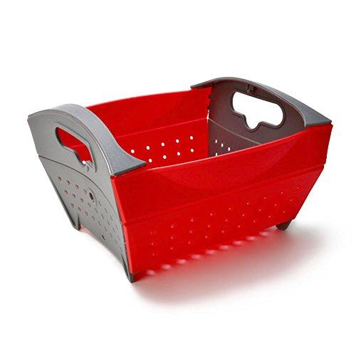 KCASA KC-SR15 Collapsible Foldable Vegetable Filter Basket Strainer Fruit Colander Storage Organizer (Red)