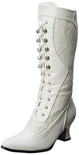 Ellie Shoes Women's 253 Rebecca Victorian Boot, White, 9 M US