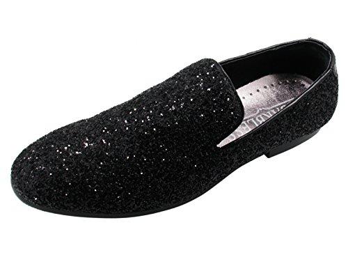 Santimon Homme Cuir Paillette Bout Rond Métallique Texturé Slip-on Mocassins Chaussures Noir