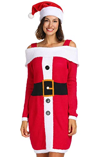 Christmas Santa Sweater Spaghetti Dress S ()