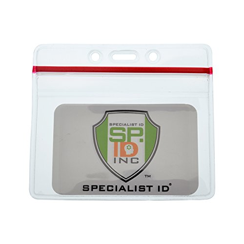 5 Pack - Heavy Duty Horizontal Vinyl Badge Holders with Resealable Ziplock Top, by Specialist (Bar Vinyl Badge Holder)