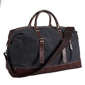 Ulgoo Travel Duffel Bag Canvas Bag PU Leather Weekend Bag Overnight (Black)