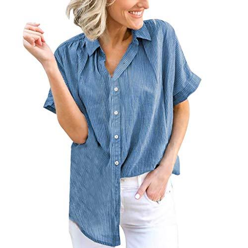 (Sttech1 Short Sleeve Loose Blouse for Women, Summer Solid Color Stripe Print T-Shirt Plus Size Blue)