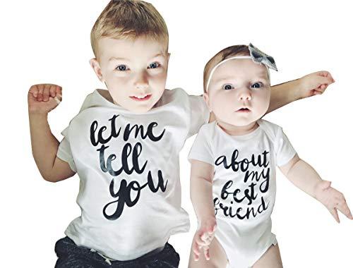 Newborn Baby Boys Girls Matching T-Shirt & Bodysuit White Letter Print Romper (About My Best Friend, 0-3M)