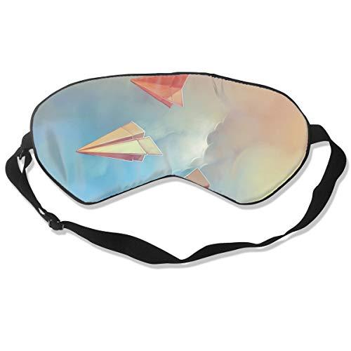 ZHENHUN Paper Airplanes Origami Silk Sleep Eye Mask Shade Best Sleeping Eye Cover for Travel Nap Full Night¡¯s Sleep Super Soft with Adjustable Strap]()