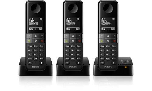 Philips D4553B/38 Schnurloses Telefon mit Anrufbeantworter (4,6 cm (1,8 Zoll) Display, HQ-Sound, Mobilteil mit Freisprecheinrichtung) schwarz