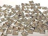 CraftbuddyUS 100 Metal 7mm Silver HOT FIX Pyramid Studs Stick on Embellishments, Punk, Goth, DIY Fashion
