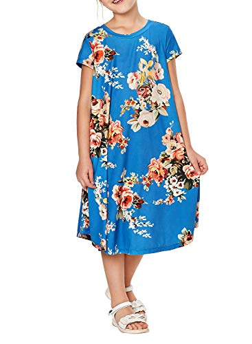 (GOSOPIN Girls Short Sleeve Floral Swing Casual Maxi Dress X-Large Blue)