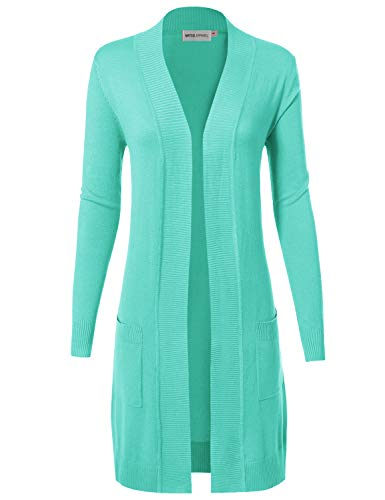 Mint Long (MAYSIX APPAREL Womens Long Sleeve Long Line Knit Sweater Open Front Cardigan W/Pocket Mint L)
