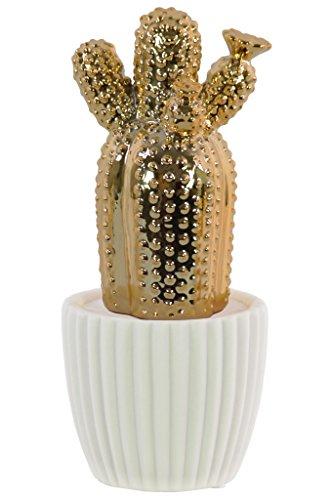 - Urban Trends Ceramic Barrel Cactus Flower on White Pot Gloss Finish Gold Figurine,