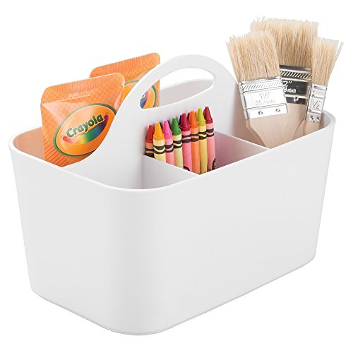 mDesign Art Supplies, Crafts, Crayons and Sewing Organizer Tote - White
