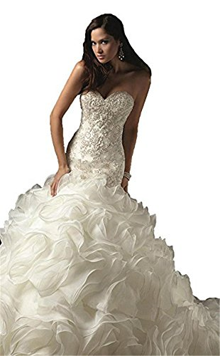 QueenBridal-Strapless-Ruffles-Organza-Mermaid-Wedding-Dresses
