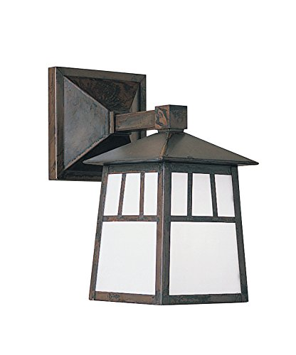 "Arroyo Craftsman RB-6WAM-BZ Raymond Wall Mount-Wet Rated, 6"", Bronze Metal Finish, Almond Mica Glass"