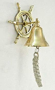 Antique Gifts Door Bell Vintage Solid Brass with Ship Wheel Wall Hanging Decor Home Décor Accents at amazon