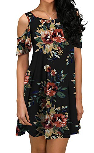 QIXING Women's Summer Cold Shoulder Floral Print Tunic Top Swing T-Shirt Loose Dress with Pockets FP-Brown Black-S
