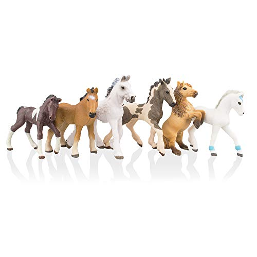 (TOYMANY 6PCS Realistic Plastic Horse Figurines Set, Detailed Textures Foal Pony Animal Toy Figures, Christmas Birthday Gift Cake Topper for Kids Toddlers Children)