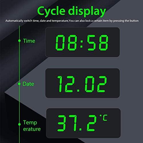 Hainter 3-in-1 LCD Auto Digital Taktgeber Thermometer KFZ PKW Datum Uhr Alarm mit LCD-Bildschirm 3 Helligkeitseinstellung Solarbetriebene und Wiederaufladbare Batterie 12h//24h