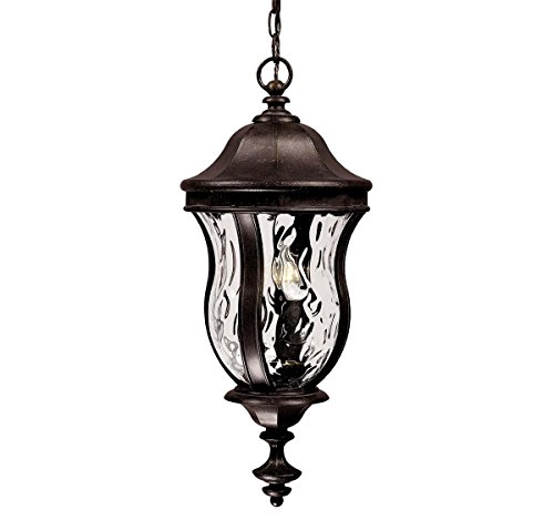 Savoy House Lighting KP-5-302-40 Monticello Collection 3-Light Outdoor Hanging Entry Lantern, Walnut Patina Finish with Clear Watered Glass