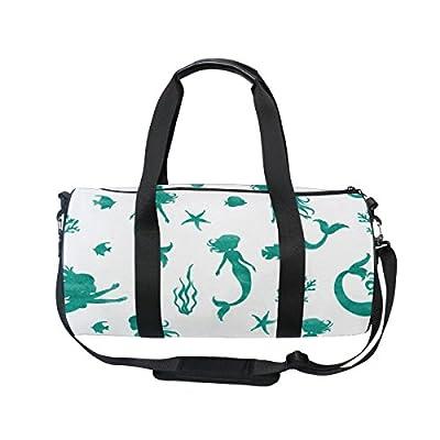 Cooper girl Watercolor Mermaid Seaweed Duffels Bag Travel Sport Gym Bag low-cost