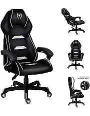 Spelstol, vilande datorstol med vadderat armstöd ergonomisk verkställande kontorsstol hög rygg PC-stol svängbar skrivbordsstol med nackstöd och korsryggsstöd