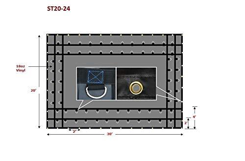 (Mytee Products 20' x 24' Flatbed Truck Tarps Heavy Duty Steel Machinery Tarp - Black)