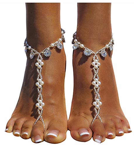 Chain Silver Toe Ring - Bellady 2 Pcs Crystal Beach Wedding Foot Jewelry Toe Ring Anklet Barefoot Sandals,Silver_Style 3