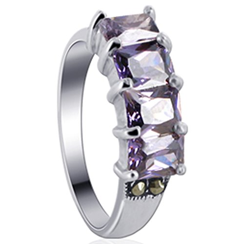 Amethyst Marcasite 925 Silver Ring - 3