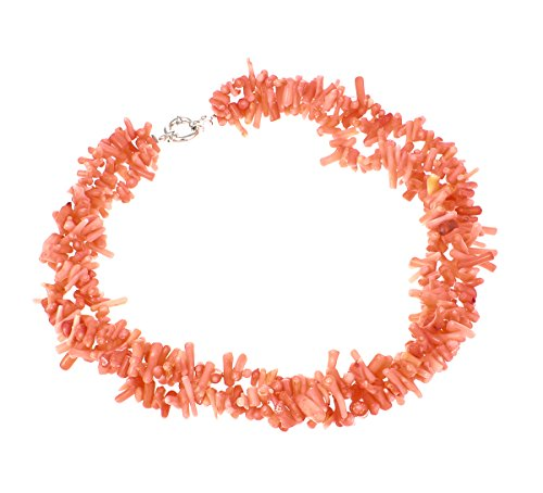 TreasureBay Womens Charming Modern Twist Orange Coral Branches Necklace Choker 49Cm - Presented In A Beautiful Jewellery Gift Box (Necklace Coral Orange)