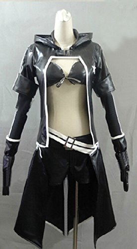 [Relaxcos Black Rock Shooter Pleather Cosplay Costume] (Shooter Girl Costume)
